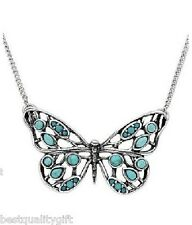 FOSSIL SILVER TONE WHIMSICAL BUTTERFLY PENDANT NECKLACE+TURQUOISE-NEW JA5017797