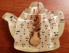 Vintage Acrylic Resin Lucite Teapot Tea Bag Holder or Spoon Rest Dried Flowers