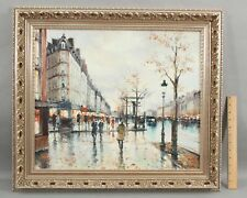 Original STEPHANE WROBEL Paris French Impressionist Streetscene O/C Oil Painting