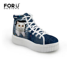 Blue Cat High Top Women Walking Shoes Cute Cat Female Platform Flat Trainers New