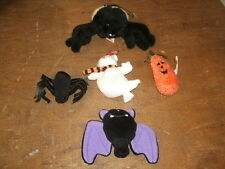 Lot of  Five Halloween Plush Figures Spiders (2) Bat Pumpkin (Ganz) Ghost (Ty)