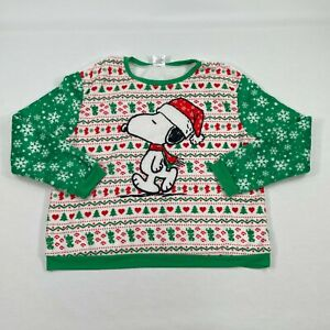 Ugly Sweater Size XXL Holiday Christmas Peanuts Sweatshirt Green Snoopy Red