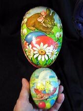 """2 Vintage Easter Eggs Paper Mache 6"""" & 3.25"""" Western Germany"""