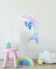 Pastel Dolphin Wall Decal Ocean Sea Animal Watercolor Wall Sticker Nursery Decor