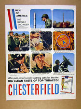 1958 US Army Missile Engineer soldiers photo Chesterfield vintage print Ad