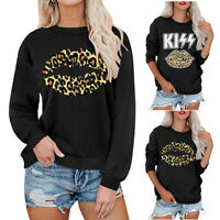 Womens Leopard Lips Long Sleeve Tops Casual Blouse Sweatshirt Jumpers T-Shirt