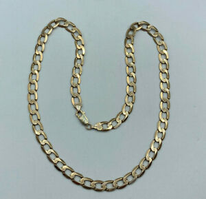 """9ct Gold Hallmarked 21"""" Plain Curb Chain Necklace.  Goldmine Jewellers."""