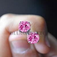 1.5CT Pink Diamond 14K White Gold Finish Stud Earrings Screw Back Wedding Gift