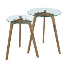Convenience Concepts Clearview Nesting Round End Tables, Natural/Glass - 111645