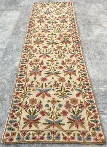 Vintage Handmade Aubusson Runner Rug Needle Point Wool Kilim Runner Rug Carpet