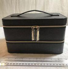 LANCOME, Travel Box/Organizer, 2 Level, 2 Zipper, in Black Faux Leather.  NEW