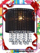Organza & Hanging Beaded Ceiling Lampshade  Black