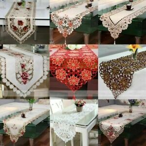 Vintage Embroidered Flower Dining Table Runner Cover Wedding Party Tassel Decor