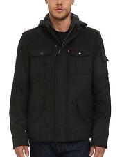 $180 NWT NEW Mens Levi's 4-Pocket Grey Wool Blend Fall/Winter Hoody Jacket  M