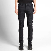 Neu Nudie Herren Slim Fit Röhren-Jeans | Lean Dean Dry Deep Dark | Raw Denim
