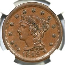 1849 N-11 NGC AU 55 CAC Braided Hair Large Cent Coin 1c