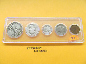 1947 Silver Birth year set 5 coins   (other years also)
