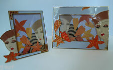 Erte Art Deco Lady with Leaves, Duo Picture Frames, Swarovski Crystals, Metal