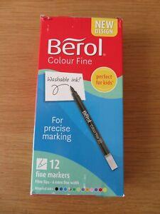 2 Packs of 12 Berol Fine Markers 0.6mm Line Felt Tip Pens Washable Colour Fine