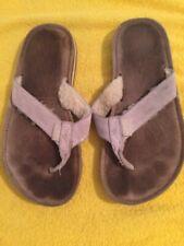 UGG Australia  Flip Flop SANDALS Faux FUR 5 Shoes Beige Cream Brown