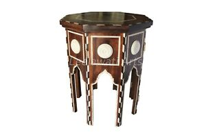 Handmade Solid Wood Bone Inlay Carved Eight Angle Folding Side Table