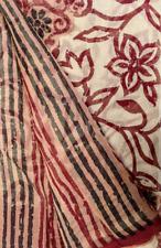 Vintage Indian Pure Cotton Saree Hand Woven  Sari Sarong Wrap Handloom Textile