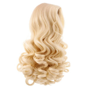 25cm Trendy Long Wavy Wig Centre Parting Hair for 18'' American Doll Golden