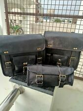 Real Goat Leather Black Saddle Bag COMBO Motorcycle Luggage Panniers Front Fork
