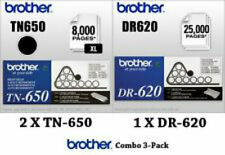 3 Pack Genuine OEM Brother TN-650 Toner & DR-620 Drum NEW & SEALED