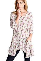 JODIFL Womens Floral Bohemian Asymmetrical Boho Chic Tunic Top Blouse S M L