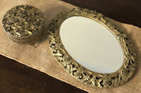 Vintage Sam Fink Gold Plated Floral Oval Footed Vanity Mirror Tray & powder box