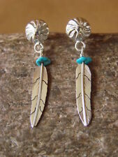 Native American Indian Jewelry Sterling Silver Turquoise Feather Earrings - Marv