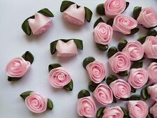"7/8"" Pink Swirl Satin Ribbon Flowers Roses w/Leaf -Lots 30-R0048K"