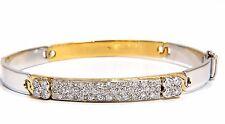 designer bangle bracelet 18kt 1.50ct. natural diamonds two toned mod