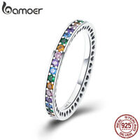 Bamoer Shining S925 Sterling Silver Ring The Rainbow With CZ For Women Jewelry