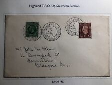 1937 Highland Scotland England Cover To Glasgow Traveling Post Office