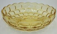 "Vintage Amber Yellow Glass Thumbprint Large 9.5"" Serving Bowl"