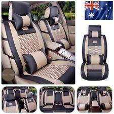 AU Car Seat Covers PU Leather Mesh 5-Seats Front+ Rear+ Pillows Set Black/Beige