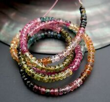 STUNNING BRAZILIAN AAAA MULTI COLOR TOURMALINE FACETED RONDELLE BEADS 33.05cts