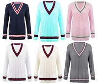 NEW LADIES CABLE KNITTED CARDIGAN WOMENS V NECK CRICKET JUMPER PLUS SIZE 16-26