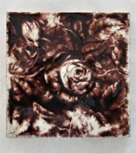 """ANTIQUE CAMBRIDGE CERAMIC TILE Raised Rose Floral Brown Cream 6""""X 6"""" X 1/2"""""""