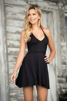 Espiral Black Mini Halter Sun Beach Dress w/ Crochet Overlay 4622