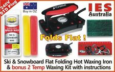 Ski-Snowboard Vitora Flat Folding Hot Waxing Iron+Red/Yellow 2Temp Wax Kit&Guide