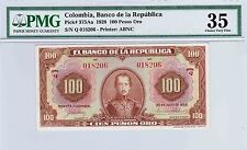 COLOMBIA  BANKNOTES $100 1928  PMG CERTIFIED 35