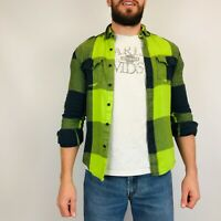 Vintage Flannel Shirt Men's Small Lime Green Check Long Sleeve