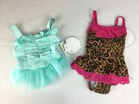 Koala Kids Swimsuits 3-6 Months Cheeta NWT Blue Polka Dot Pink Ruffle Lot of 2