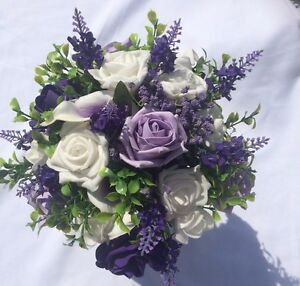 Scottish Wedding Flowers Posy Bouquet White & Purple & Lilac with Thistles & Gyp