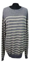 TRAIT Jumper Size L Grey White Striped Casual Everyday Cotton Evening Party *