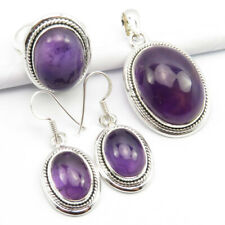 Oval Amethyst Earrings Pendant Ring Sz 8 Gift Set 25 Grams ! 925 Silver Natural