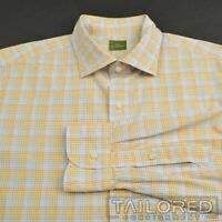 SID MASHBURN Yellow Plaid Check 100% Cotton Mens Casual Dress Shirt - LARGE